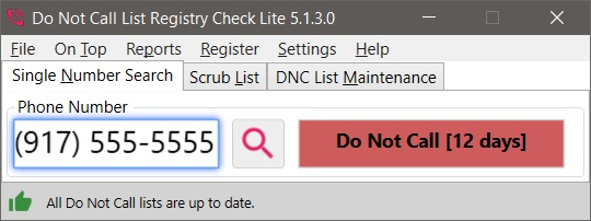 Do Not Call List Registry Check Review for Windows