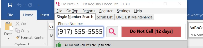 Do Not Call List Registry Check docked above Microsoft Office toolbar